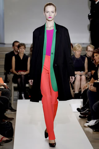Jil Sander's coloful catwalk here