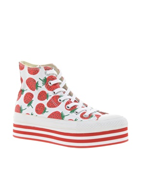 Converse All Star Strawberry Platform High Top Trainers - £65, Asos