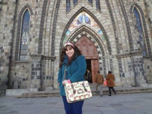 Canela's stone cathedral. I love this satchel!