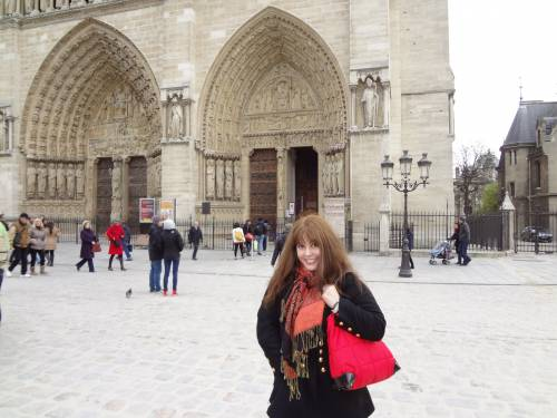 Notre Dame cathedral. Scarf bought at a Korean shop