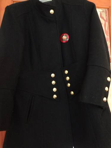 Coat detail and Russian brooch that I bought in Paris in January 2013