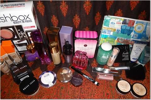 Dec 2013 cosmetic shopping - Carolina Herrera, Givenchy and Victoria's secrets perfumes, Origin tonic water, Bobbi Brown powder, Dior lipgloss, YSL foundation, Bourjois eye shadows, so on, so on
