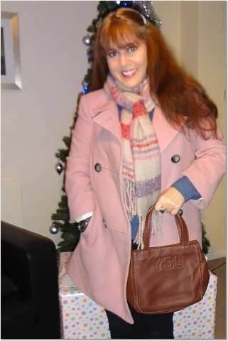 Around Christmas 2013. Same pink coat, gifted scarf, YSL bag
