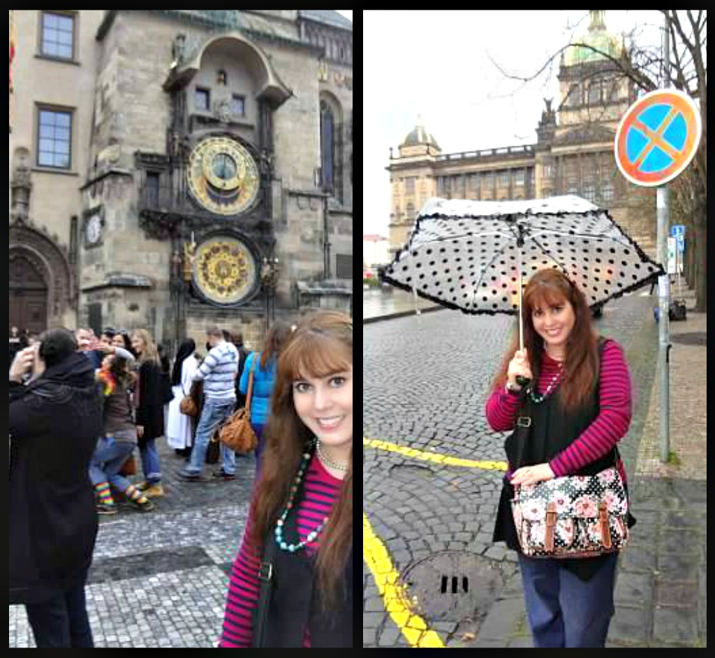 Prague astronomical clock and Wenceslas Square - Topshop umbrella to look OK-ish :)