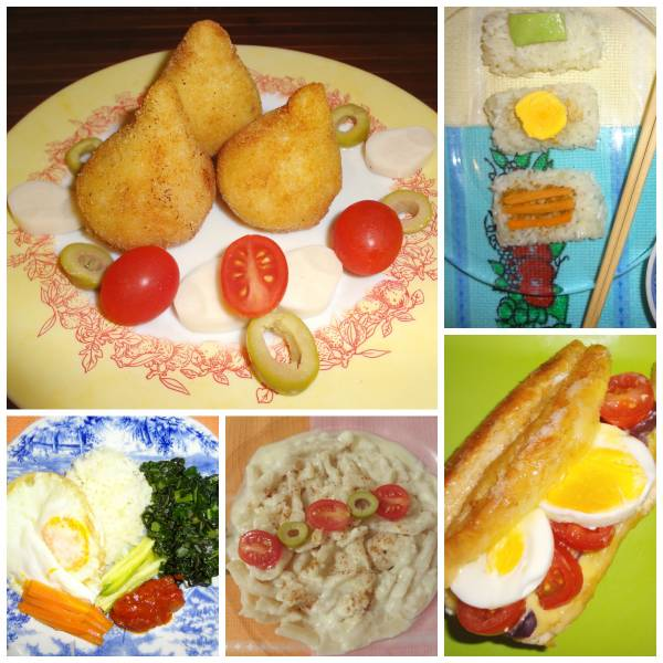 Coxinha de palmito (Brazil) - Bibimbap (South Korea) - Vegetarian sushi (Japan) - Homemade stringozzi (Italy) and Chivito (Uruguay)