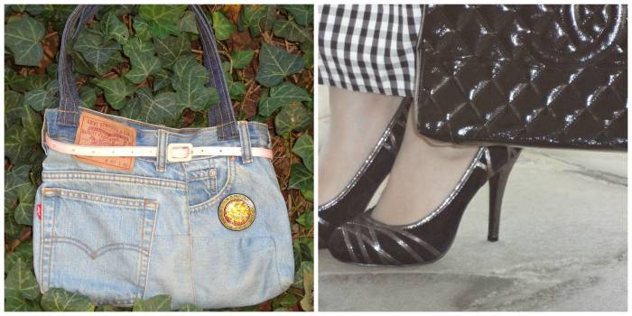 Bags: denim made out of a Levi's jeans and Chanel