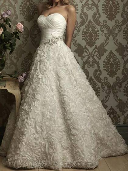 Ball Gown Sweetheart Lace Satin Sweep Train Beading Wedding Dress