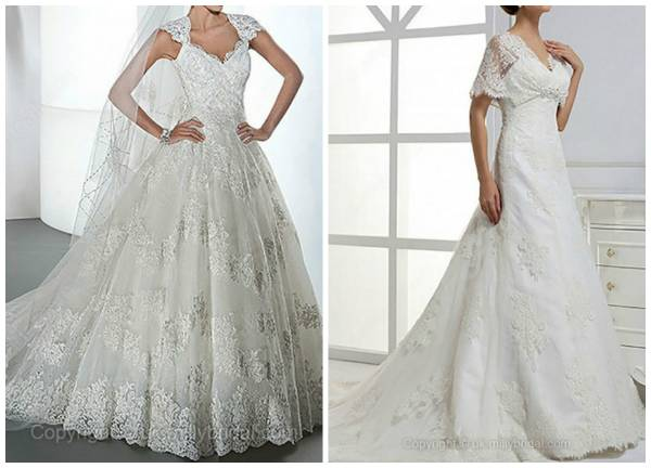 From left to right: Ball Gown V-neck Lace Satin Sweep Train Ivory Appliques Wedding Dress and A-line V-neck Lace Satin Court Train Beading Wedding Dress
