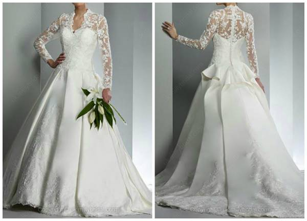 Ball Gown V-neck Satin Court Train Appliques Wedding Dress