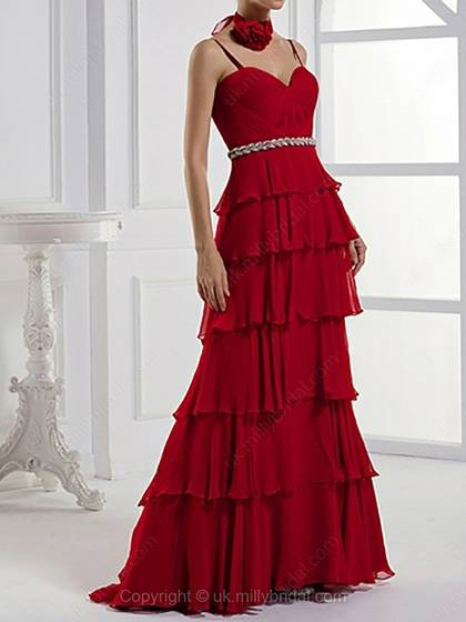 A-line Spaghetti Straps Chiffon Sweep Train Sleeveless Tiered Evening Dress