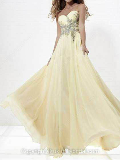 A-line Sweetheart Chiffon Floor-length Beading Prom Dress