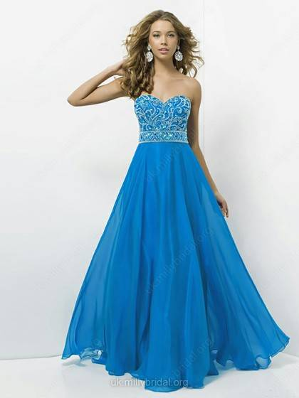 A-line Sweetheart Chiffon Floor-length Rhinestone Prom Dress
