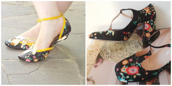 Outfit shoes with floral print in low and high heeled versions