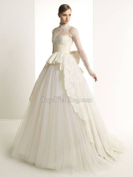 Wonderful Ball Gown Long Sleeve Tulle Wedding Dress with Lace