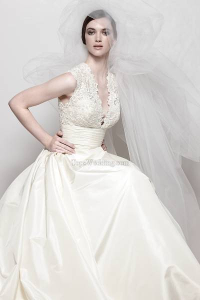 Gorgeous white satin A-line wedding dress with lace V-neckline and applique back