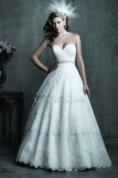 A-line Wedding Dress Layers Ruffles Lace-up Fantastic Semi-cathedral Train