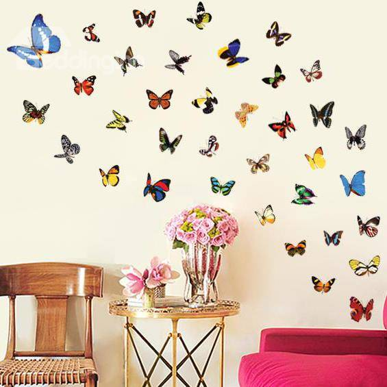 Pretty Wonderful Butterfly Flying Wall Stickers for Home Decoration