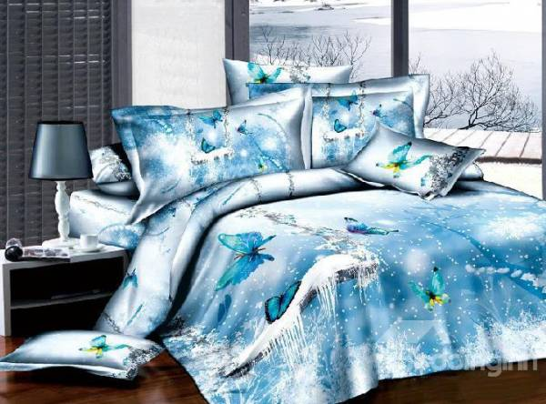 100% Cotton 3D Ice Blue Butterfly 4 Piece Bedding Sets/Duvet Cover Sets