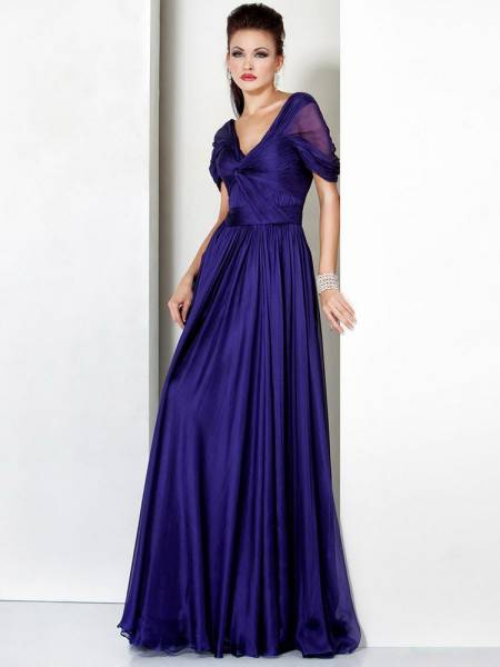 Empire Chiffon V-neck Low Long Evening Dress