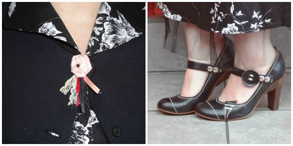 Harlot shoes. Brooch, I made it myself