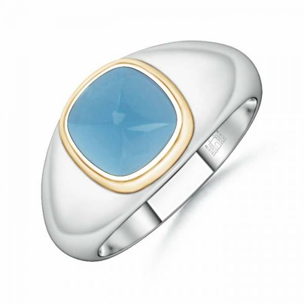 Sugarloaf Cut Blue Topaz Solitaire Ring