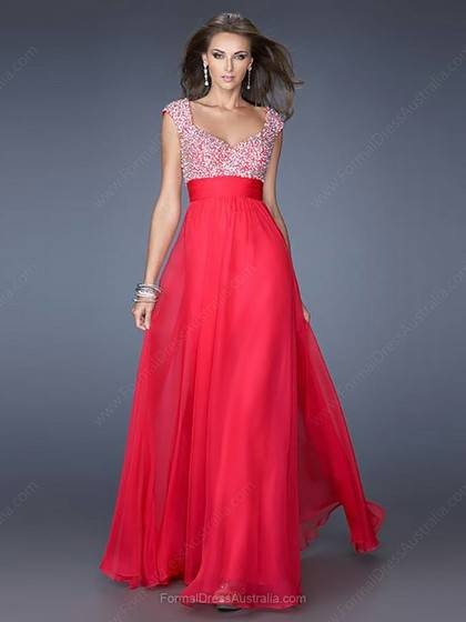 A-line Chiffon Off-the-shoulder Beading Floor-length Formal Dress