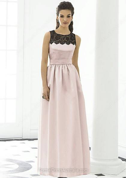 A-line Satin Scoop Neck Lace Floor-length Formal Dress