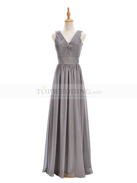 Silver V neck Chiffon Bridesmaid dress with stylish pleats