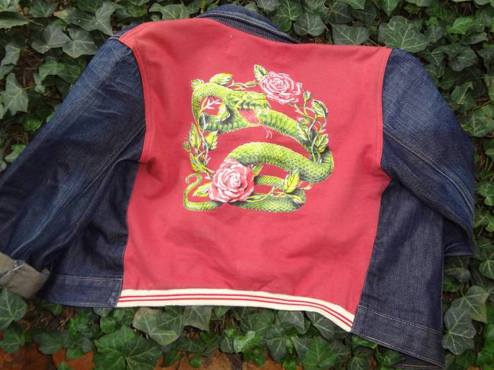 Dragon and rose denim jacket