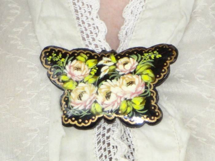 A Russian hand painted brooch that I love!