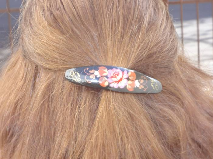 Russian hand painted barrette
