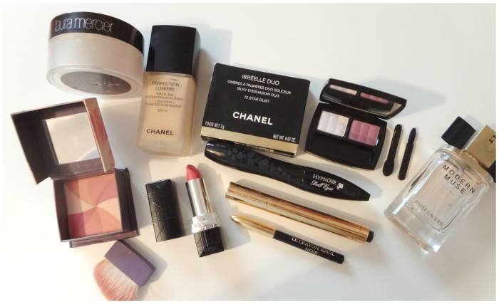 Chanel foundation and eye shadows, Modern Muse Estee lauder perfume, Lancome mascara and eye pencil, Hervana Benefit blush, YSL Touche Eclat and Laura Mercier powder