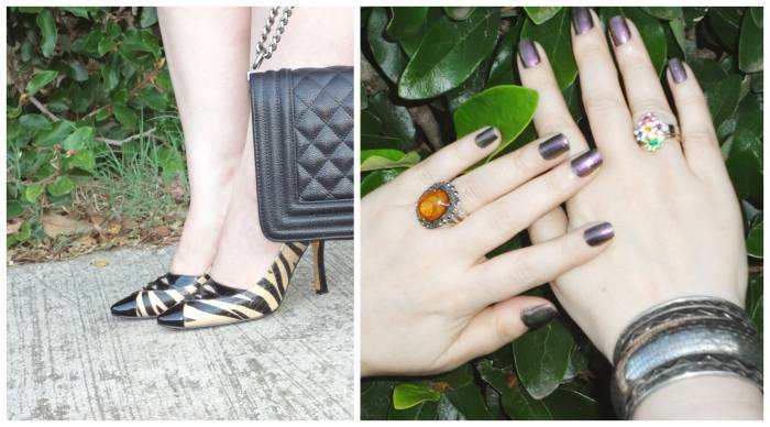 Details of shoes, bag, rings and nail polish