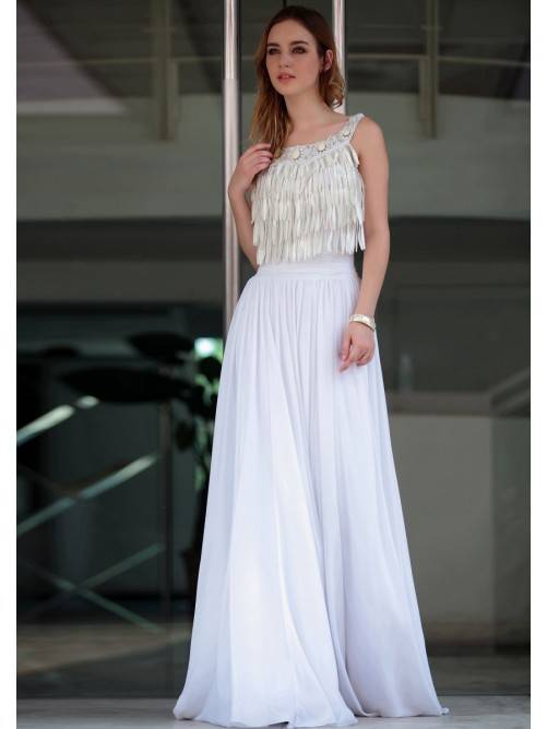 Elegant Beading A-line Floor-length Backless Formal Dress