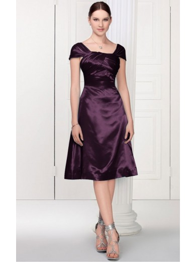 Stunning Purple Sheath Tea-length scoop dress