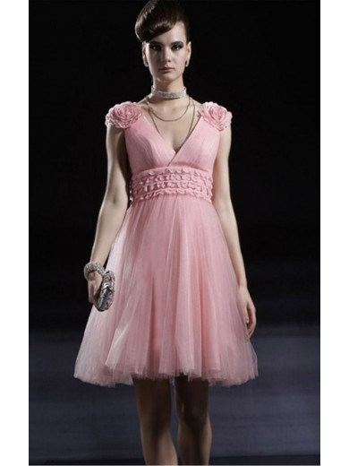 Pink Princess Knee-length V-neck dress