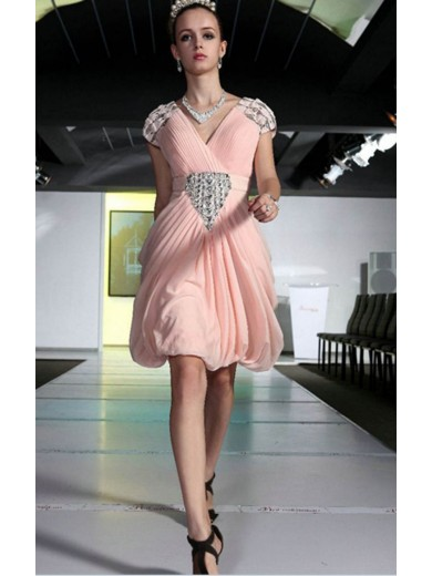 Attractive Pink A-line knee-length V-neck dress
