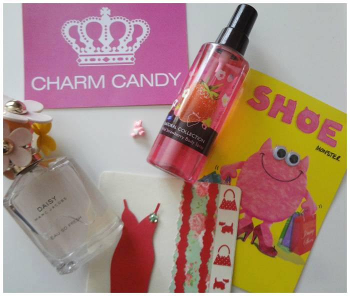 Pink cards, gifted - and the fuschia dress was  handmade by Kezzie - Strawberry body spray at Superdrugstore, pink bear button