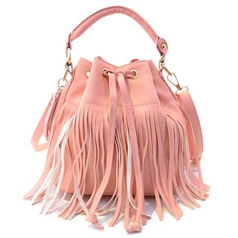 Trendy Women's Tote Bag With Fringe and Candy Color Design