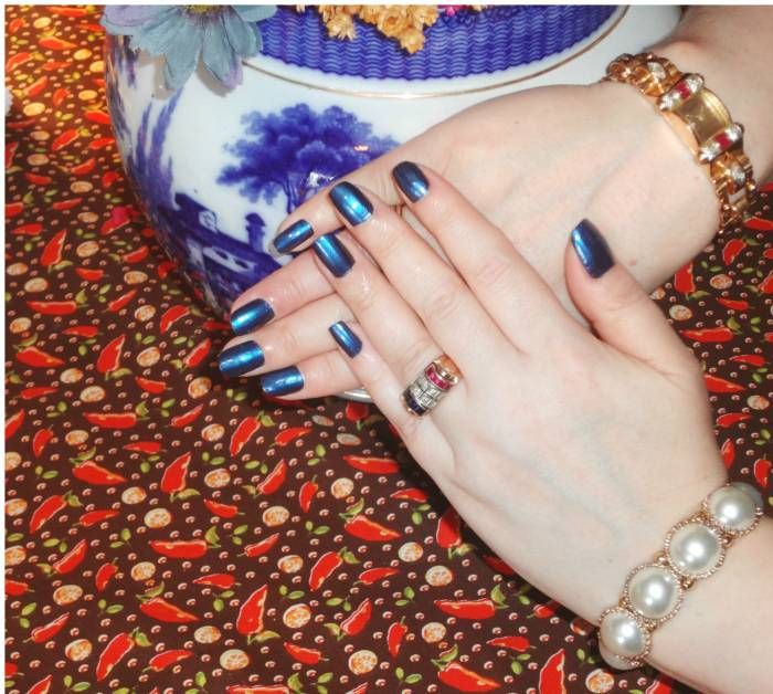 Blue nails, my creation with two colors - in honor of Movember