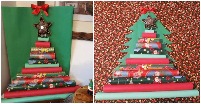 Christmas tree with gift wrap paper