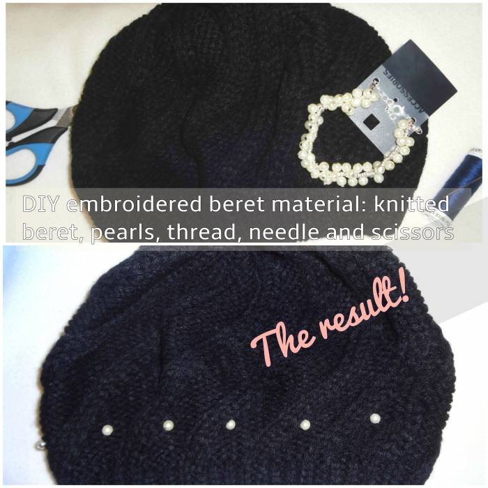 Beret and pearl bracelet, C & A (first picture of the post shows it, with a C & A black and white top)