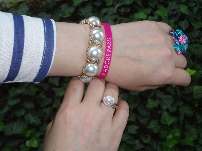 Pearl bracelet, don't remember; Pearl ring, Fiorelli