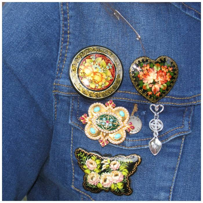 Rissian hand painted brooches - I really love them! Golden brooch, Victoria and Albert Museum. Siver lovespoon, bought in Tenby, Wales