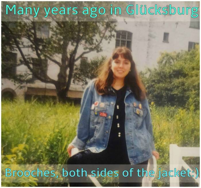 Oversized denim jacket and many brooches - tender years as an exchange student, shorter hair and fringe, always!