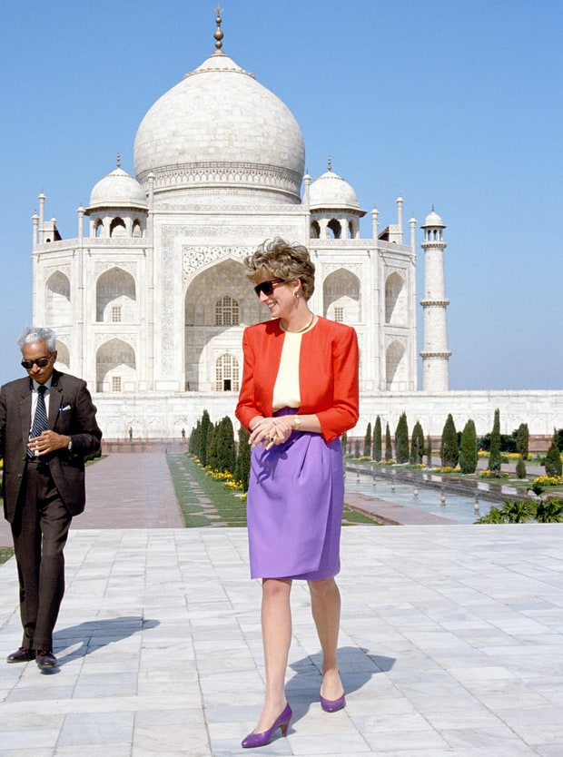 The Princess of Wales outside the Taj Mahal in 1992