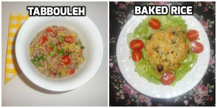 Some people also write tabouli; it's a Lebanese salad. Baked white rice, you can prepare even with risotto leftovers