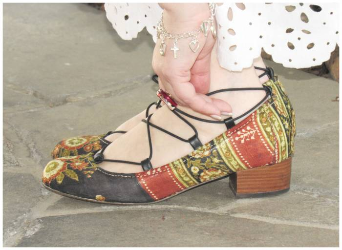 Ask a cobbler to cover shoes with your favorite fabric!