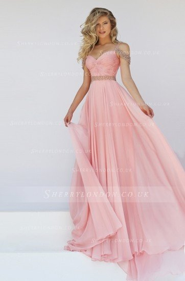 PRETTY OFF THE SHOULDER BEADED STRAPS LONG PLEATED BODICE CHIFFON PROM DRESS