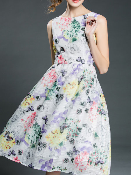 Multiflora A-line Polyester Casual Sleeveless Midi Dress